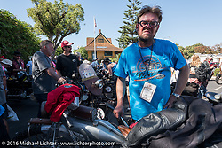This is the end my friend, 3,400 miles from the Atlantic to the Pacific. The journey is over. Ryan Allen of New Mexico with his 1916 Indian at the finish line of the Motorcycle Cannonball Race of the Century. Stage-15 ride from Palm Desert, CA to Carlsbad, CA. USA. Sunday September 25, 2016. Photography ©2016 Michael Lichter.
