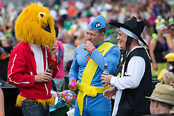 © Licensed to London News Pictures . 08/08/2015 . Siddington , UK . Crowd dressed as the Honey Monster , a Thunderbird and Boy George at the Rewind Festival of 1980s music , fashion and culture at Capesthorne Hall in Macclesfield . Photo credit: Joel Goodman/LNP