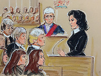 Nigella Lawson in witness box in case against her former Personal Assistant's, The Grillo sisters foreground, left