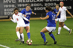 04 November 2016:  Mikayla Unger(5), Sydney Hamker(7) and Gaelen Stebach(19) during an NCAA Missouri Valley Conference (MVC) Championship series women's semi-final soccer game between the Indiana State Sycamores and the Illinois State Redbirds on Adelaide Street Field in Normal IL