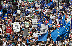 © Licensed to London News Pictures. 23/06/2018. London, UK. The People's Vote March for a second EU referendum passes down Whitehall for a rally in Parliament Square. Photo credit: Peter Macdiarmid/LNP