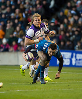 EDINBURGH, SCOTLAND - FEBRUARY 11: French full back, Geoffrey Palis, gets away from Scotland's David Denton during the NatWest Six Nations match between Scotland and France at Murrayfield on February 11, 2018 in Edinburgh, Scotland. (Photo by MB Media/Getty Images)