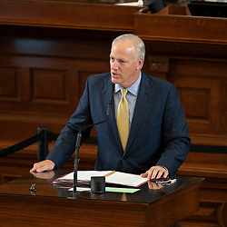 Austin, TX USA March 31, 2021:  State Rep. James Frank, R-Wichita Falls, on the floor of the Texas House of Representatives during routine bill readings at the 87th Texas legislative session. Emergency bills include power company regulation, border security and the coronavirus response.