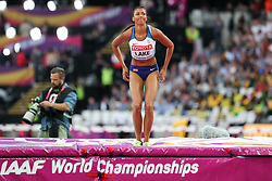 London, August 12 2017 . Morgan Lake, Great Britain, in the women's high jump final on day nine of the IAAF London 2017 world Championships at the London Stadium. © Paul Davey.
