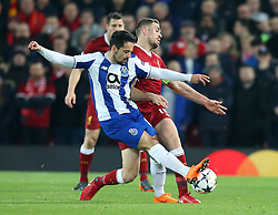 March 6, 2018 - Liverpool, U.S. - 6th March 2018, Anfield, Liverpool, England; UEFA Champions League football, round of 16, 2nd leg, Liverpool versus FC Porto; Almeida Costa of Porto  clashes with Jordan Henderson of Liverpool  (Photo by Dave Blunsden/Actionplus/Icon Sportswire) ****NO AGENTS---NORTH AND SOUTH AMERICA SALES ONLY****NO AGENTS---NORTH AND SOUTH AMERICA SALES ONLY* (Credit Image: © Dave Blunsden/Icon SMI via ZUMA Press)