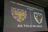 Wimbledon story told in lego during the EFL Sky Bet League 1 match between AFC Wimbledon and Bolton Wanderers at the Cherry Red Records Stadium, Kingston, England on 7 March 2020.