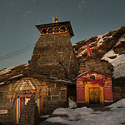 Night shot of Tungnath, the highest Shiva temple in the world; one of the 5 temples of the Shaivite sect dedicated to the god Shiva. In the Himalaya.