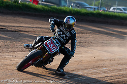 Hooligan flattracker (no. 653) Tyler Bereman on his Indian racer in the Spirit of Sturgis races at the fairgrounds during the Sturgis Black Hills Motorcycle Rally. Sturgis, SD, USA. Monday, August 5, 2019. Photography ©2019 Michael Lichter.