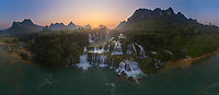 Panoramic aerial view of the Detian Falls during sunset, China-Vietnam
