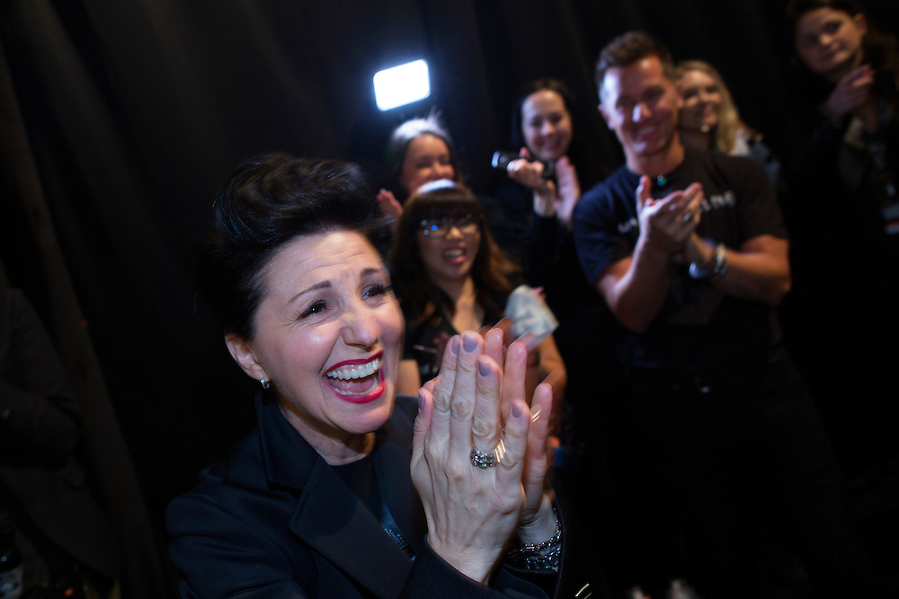 TORONTO, ON - MARCH 15: Fashion designer Marisa Minicucci of Sosken reacts backstage after her successful show during Toronto Fashion Week in Toronto, Ontario. Toronto Star/Todd Korol