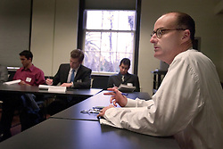 """Jonathan Greenberg, director of Graduate Studies at the Law School, """"Assist. Sec. General for Legal Affairs"""", leads a Stanford arms negotiation class"""