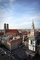 Munich, Germany's central Marienplatz taken from St. Peter's Church.