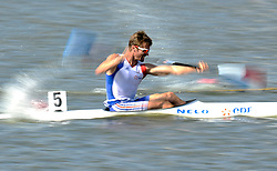 ARNAUD HYBOIS (FRANCE) COMPETES IN MEN'S K1 RELAY 200 METERS QUALIFICATION RACE DURING 2010 ICF KAYAK SPRINT WORLD CHAMPIONSHIPS ON MALTA LAKE IN POZNAN, POLAND...POLAND , POZNAN , AUGUST 22, 2010..( PHOTO BY ADAM NURKIEWICZ / MEDIASPORT ).