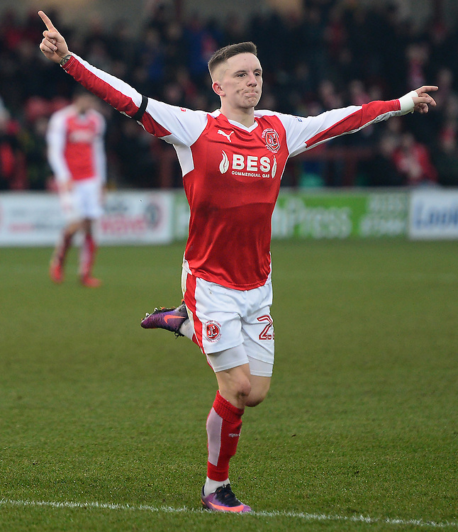 Fleetwood Town's Ashley Hunter celebrates scoring his sides first goal <br /> <br /> Photographer Richard Martin-Roberts/CameraSport<br /> <br /> The EFL Sky Bet Championship - Fleetwood Town v Bristol Rovers - Saturday 14th January 2017 - Highbury Stadium - Fleetwood<br /> <br /> World Copyright © 2017 CameraSport. All rights reserved. 43 Linden Ave. Countesthorpe. Leicester. England. LE8 5PG - Tel: +44 (0) 116 277 4147 - admin@camerasport.com - www.camerasport.com