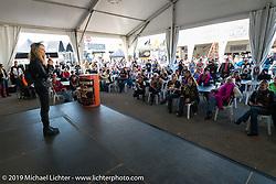 Karen Davidson address women riders at the Women's MDA Ride just before leaving the Harley-Davidson display for Destination Daytona during Daytona Bike Week. FL, USA. March 11, 2014.  Photography ©2014 Michael Lichter.