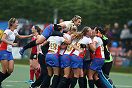The Russia players celebrate at the final whistle as they win the match to reach the final. Wales v Russia, semi final,  EuroHockey 11 Women's championshp 2017 in Cardiff, South Wales , Friday 11th August 2017<br /> pic by Andrew Orchard