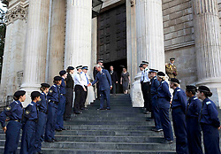 The Prince of Wales meets members of the Volunteer Police Cadets after the service to commemorate National Police Memorial Day at St Paul's Cathedral in central London.