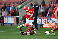 Ryan Colclough of Crewe Alexandra tackles Brandon Ottewill of Swindon Town. Skybet football league 1 match, Crewe Alexandra v Swindon Town at The Alexandra Stadium in Crewe, Cheshire on Saturday 5th September 2015.<br /> pic by Chris Stading, Andrew Orchard sports photography.