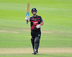Jim Allenby of Somerset celebrates 50*.  - Mandatory by-line: Alex Davidson/JMP - 17/08/2016 - CRICKET - Cooper Associates County Ground - Taunton, United Kingdom - Somerset v Worcestershire Rapids - Royal London One Day Cup Quarter Final