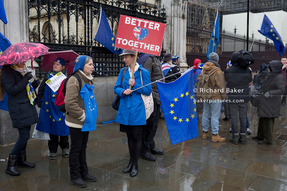 Pro-EU Remainers celebrate EU membership with 'A party like there's no tomorrow' for one last time outside parliament, one day before Brexit Day (the date of 31st January 2020, when the UK legally exits the European Union), in Parliament Square, Westminster, on 30th January 2020, in London, England.