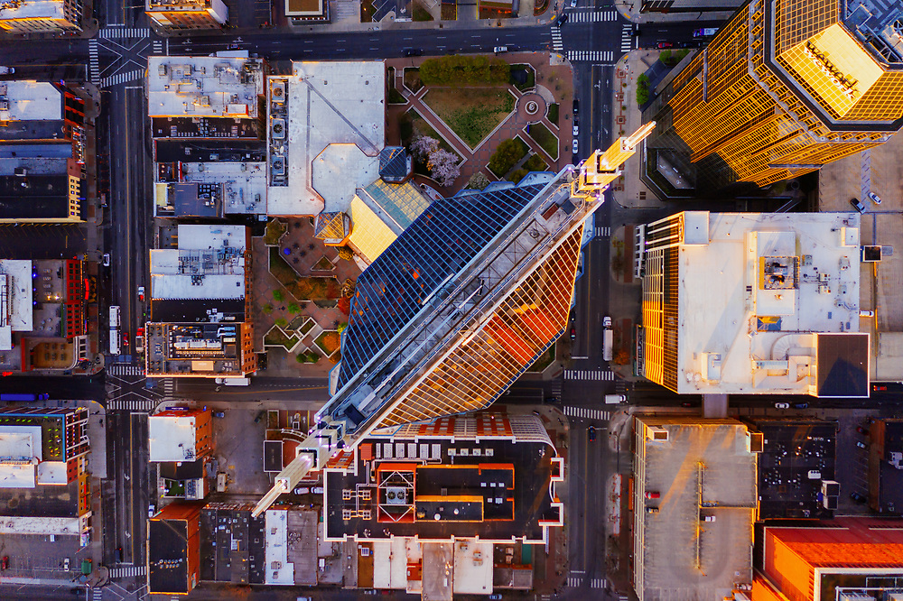 Nashville, Tennessee aerial image looking straight down on the AT&T (Batman) Building during sunrise.