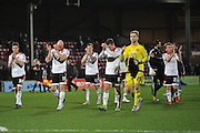 Sheffield United celebrate at end of game  winning 1-0  during the Sky Bet League 1 match between Scunthorpe United and Sheffield Utd at Glanford Park, Scunthorpe, England on 19 December 2015. Photo by Ian Lyall.