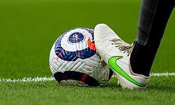 LIVERPOOL, ENGLAND - Saturday, April 10, 2021: The official Nike Premier League match ball under the Nike boot of Liverpool's goalkeeper Alisson Becker during the pre-match warm-up before the FA Premier League match between Liverpool FC and Aston Villa FC at Anfield. Liverpool won 2-1. (Pic by David Rawcliffe/Propaganda)