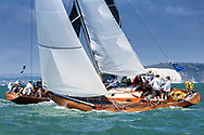 Volonte and Sunmaid V competing in Cowes during the Panerai British Classic Sailing Week regatta. <br /> Picture date: Monday July 10, 2017.<br /> Photograph by Christopher Ison ©<br /> 07544044177<br /> chris@christopherison.com<br /> www.christopherison.com