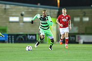 Forest Green Rovers Delano Sam-Yorke on the ball during the The County Cup match between Forest Green Rovers and Bristol City at the New Lawn, Forest Green, United Kingdom on 23 November 2015. Photo by Shane Healey.
