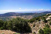 landscape and farmland as seen on the Greek Island of Cephalonia, Ionian Sea, Greece