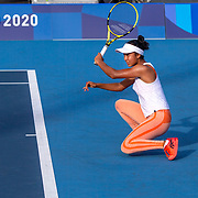 TOKYO, JAPAN - JULY 20: Leylah Annie Fernandez of Canada practicing at Ariake Tennis Park in preparation for the Tokyo 2020 Olympic Games on July 20, 2021 in Tokyo, Japan. (Photo by Tim Clayton/Corbis via Getty Images)