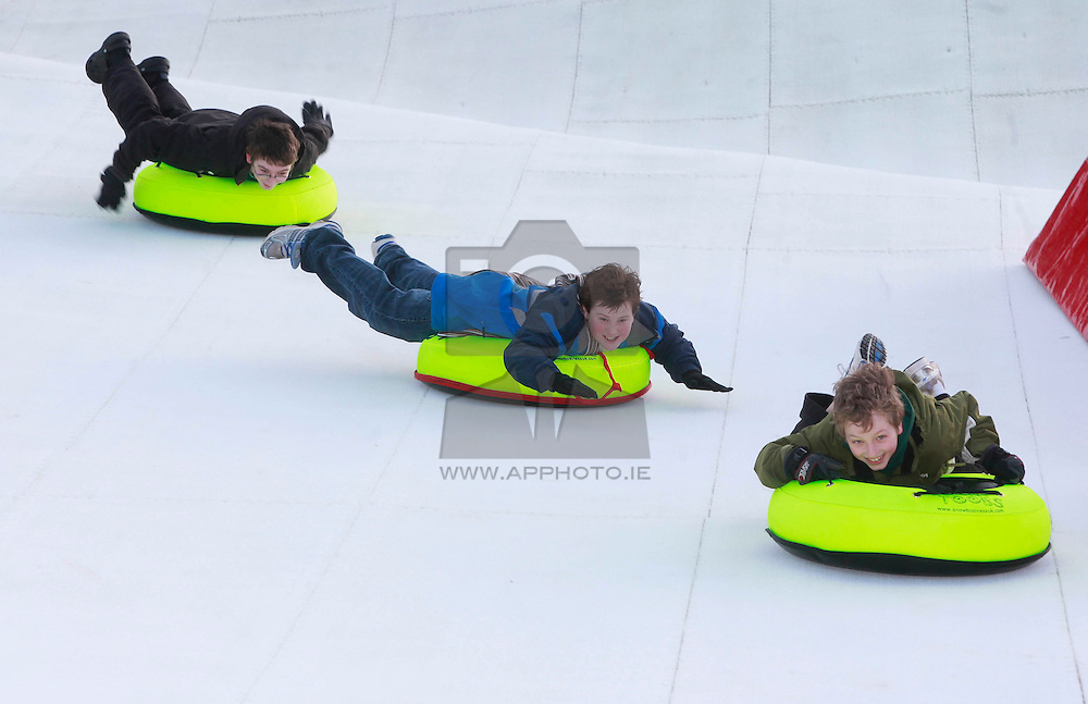 No fee for Repro: 22/01/2012.Cameron Columb (6), Jordan Eccles (12) and Nathan Columb (10) are pictured during World Snow Day at the Ski Club of Ireland in Kilternan who hosted a festival day of snowsports activities. Pic Andres Poveda.