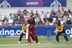 July 1, 2019 - Chester Le Street, County Durham, United Kingdom - West Indies' Chris Gayle plays and misses during the ICC Cricket World Cup 2019 match between Sri Lanka and West Indies at Emirates Riverside, Chester le Street on Monday 1st July 2019. (Credit Image: © Mi News/NurPhoto via ZUMA Press)