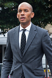 """London, UK. 25 September, 2019. Chuka Umunna, Liberal Democrat MP for Streatham, is interviewed on College Green on the day after the Supreme Court ruled that the Prime Minister's decision to suspend parliament was """"unlawful, void and of no effect"""". Credit: Mark Kerrison/Alamy Live News"""