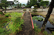 little garden with pound and bridge Japan