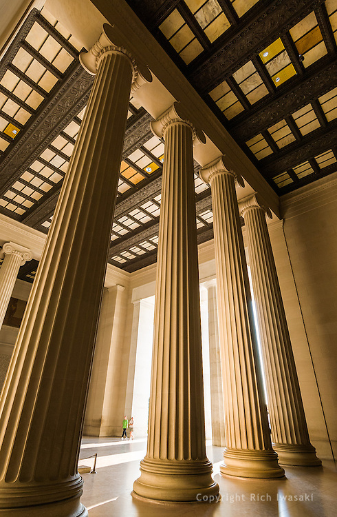 Low angle view of interior columns of the Lincoln Memorial, Washington, DC