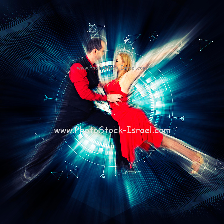 Digitally enhanced image of a Salsa dancing couple