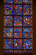 Medieval Windows of the Gothic Cathedral of Chartres, France, dedicated to the life of the Virgin Mary.  The bottom centre oval panel shows Anna and Joachim meet at the Golden Gate, below The high priest refuses the offerings of Joachim, left Annunciation to Joachim , right Annunciation to Anna .  . A UNESCO World Heritage Site. .<br /> <br /> Visit our MEDIEVAL ART PHOTO COLLECTIONS for more   photos  to download or buy as prints https://funkystock.photoshelter.com/gallery-collection/Medieval-Middle-Ages-Art-Artefacts-Antiquities-Pictures-Images-of/C0000YpKXiAHnG2k