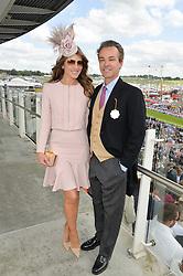 ELIZABETH HURLEY and HENRY DENT-BROCKLEHURST at the Investec Derby 2015 at Epsom Racecourse, Epsom, Surrey on 6th June 2015.