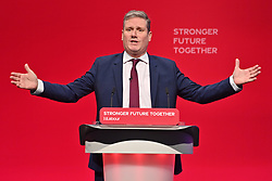 © Licensed to London News Pictures. 29/09/2021. Brighton, UK. Labour Party leader Keir Starmer makes a key note speech at the Labour Party Annual Conference in Brighton. Photo credit: London News Pictures