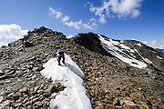 Alpine mountain peak in Bormio, Lombardy region of the Alps in northern Italy