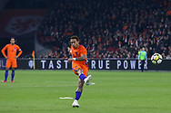 Netherlands forward Memphis Depay (Olympique Lyonnais), shorts at goal with a free kick during the Friendly match between Netherlands and England at the Amsterdam Arena, Amsterdam, Netherlands on 23 March 2018. Picture by Phil Duncan.