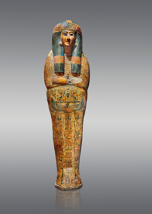 Ancient Egyptian sarcophagus outer coffin of singer Tabakenkhonsu, Temple of Hatshepsut at Deir el-Bahri, Thebes, 2nd half of 21st Dynasty, 680–670 B.C. Egyptian Museum, Turin. Grey background.<br /> <br /> The deceased is depicted with her hands rendered in high relief on top of a wesekh collar. a stylistic trait that allows the coffin to be dated from the late 21st Dynsaty. the outer coffin is of great quality depicting mythological scenes derived from the Book of the Dead spells. .<br /> <br /> If you prefer to buy from our ALAMY PHOTO LIBRARY  Collection visit : https://www.alamy.com/portfolio/paul-williams-funkystock/ancient-egyptian-art-artefacts.html  . Type -   Turin   - into the LOWER SEARCH WITHIN GALLERY box. Refine search by adding background colour, subject etc<br /> <br /> Visit our ANCIENT WORLD PHOTO COLLECTIONS for more photos to download or buy as wall art prints https://funkystock.photoshelter.com/gallery-collection/Ancient-World-Art-Antiquities-Historic-Sites-Pictures-Images-of/C00006u26yqSkDOM