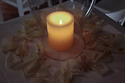 Lit decorative candle