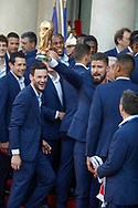 Olivier Giroud with the trophy, Hugo Lloris during the reception of the French team at Elysée after winning the 2018 FIFA World Cup Russia on July 16, 2018 in Paris, France - Photo Stephane Allaman / ProSportsImages / DPPI