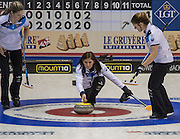 """Glasgow. SCOTLAND. Scotland's  """"Skip""""  Eve MUIRHEAD, guides  the """"Stone"""" towards  the """"Hog Line"""" during the Le Gruyère European Curling Championships. 2016 Venue, Braehead  Scotland<br /> Sunday  20/11/2016<br /> <br /> [Mandatory Credit; Peter Spurrier/Intersport-images]"""