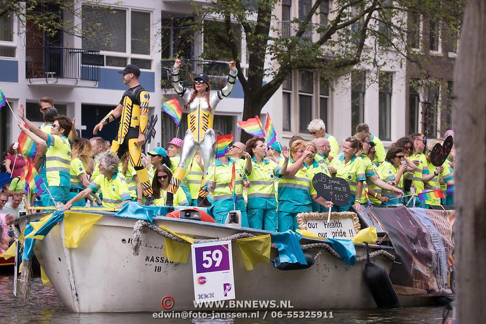 NLD/Amsterdam//20170805 - Gay Pride 2017, Boot Ambulance Amsterdam