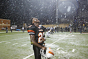 Lancaster's Jaelyn Carr (21) celebrates in the rain after beating Wichita Falls Rider in double overtime, 26-19, in the Class 4A playoff final at the Justin Northwest High School NISD Stadium in Justin, Texas, on December 14, 2012.  (Stan Olszewski/The Dallas Morning News)