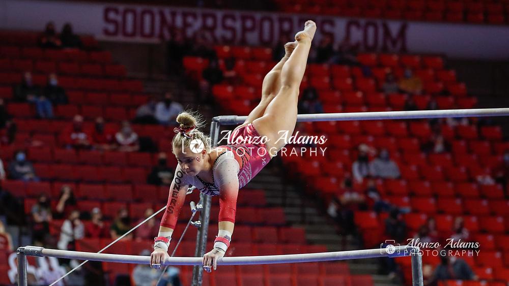 xxxx during an NCAA gymnastics meet on Sunday, Jan. 10, 2021 in Norman, Okla. (AP Photo/Alonzo Adams)