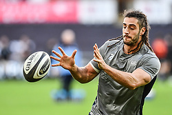 Cardiff Blues' Josh Navidi during the pre match warm up<br /> <br /> Photographer Craig Thomas/Replay Images<br /> <br /> Guinness PRO14 Round 13 - Ospreys v Cardiff Blues - Saturday 6th January 2018 - Liberty Stadium - Swansea<br /> <br /> World Copyright © Replay Images . All rights reserved. info@replayimages.co.uk - http://replayimages.co.uk